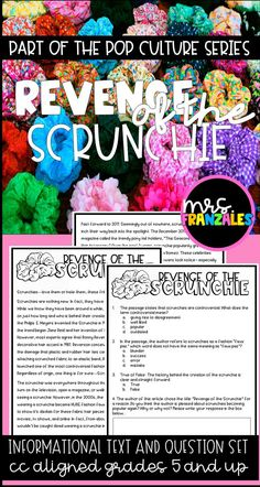 Scrunchie High Interest CC grade and up Informational Text Pop Culture Series Reading Comprehension Close Reading Test Prep Upper Elementary Middle Grades VSCO 8th Grade Ela, 6th Grade Reading, Reading Test, Ninth Grade, Seventh Grade, Reading Comprehension Test, Reading Passages, Close Reading Lessons, Constructed Response