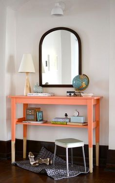 Ikea hacks are the best DIY home decor projects. You can take simple furniture from Ikea and turn it into something amazing in no time at all and also Furniture, Interior, Painted Furniture, Diy Entryway Table, Home Diy, Dipped Furniture, Diy Entryway, Ikea Table, Diy Entry Table