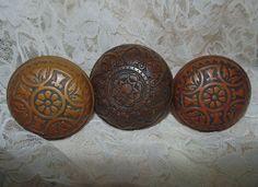 3 Antique 19c Victorian Eastlake Aesthetic Brass Bronze Copper Door Knobs