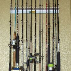 http://thefirstsergeant.com/pinnable-post/14-rod-piranha-fishing-rod-rack/ No more tangles! Give your rods the protection they deserve with these Piranha Fishing Racks. PRICED LOW! Tired of owning a rat's nest of battered rods and line? Your gear deserves a lot better treatment after all those years of relaxation and outdoor fun! These Piranha Racks eliminate tangles, scratches and breaks by keeping your rod / reel combos neatly organized. Durabl...