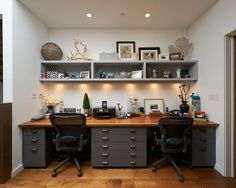 Simple Modern Home Office Design With Built In Desk And Lovely Color Design
