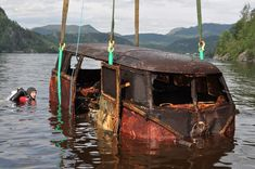 1957 Deluxe bus was found underwater in a Norweigen Fjord in 2003 following a tip off from the guys who put it there in 1973. #Rusty
