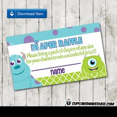 Printable Monsters Inc Baby Shower Diaper Raffle Tickets. The game cards feature the cutest monsters in a blue and green color scheme. Baby Shower Diapers, Baby Shower Games, Baby Shower Parties, Baby Boy Shower, Monsters Inc Baby Shower, Monster Baby Showers, Monsters Ink, Disney Monsters, Office Baby Showers