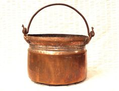 LARGE Antique COPPER Pot CAULDRON w IRON Handle, Hand Forged TIN LINED #Country