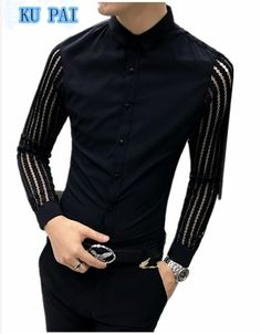 2017 autumn new shirt male long-sleeved shirt Korean personality lace stitch hair stylist nightclothes clothing tide