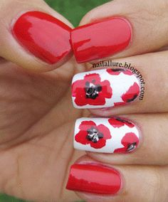 Poppy Nails for Remembrance Day