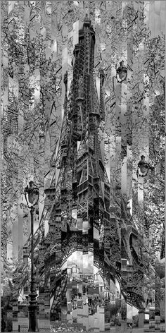 Serge Mendjisky - Eiffel Tower 2008 - Toned silver print, mounted on canvas, strip by strip