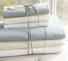 Organic sheet sets in super-comfy high-thread-counts are pricey, but make great gifts. I put some on my wish list last year. PB Organic 400-Thread-Count Sheet Set | Pottery Barn #presidiograd