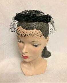 Vintage Black Velvet Circle Hat With Netting Vintage Hats, Vintage Black, Vintage Ladies, Mom And Grandma, Black Velvet, Veil, 1960s, Captain Hat, Bows