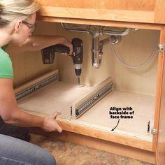 Kitchen Cabinet Storage Solutions: DIY Pull Out Shelves Kitchen Sink Storage, Cheap Kitchen Cabinets, Under Sink Storage, Extra Storage, Diy Storage, Kitchen Storage Solutions, Storage Design, Table Storage, Bathroom Storage