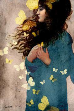 """Klimt-like modern portrait painting: """"Bye bye butterfly"""" by Catrin Welz-Stein, Kuala Lumpur"""