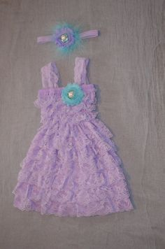 Photography Prop Baby Girl Lace Petti Dress and Headband Set 9-24 Month Lavender with Aqua on Etsy, $27.99