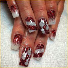 Christmas Gel Nails, Holiday Nail Art, Christmas Nail Art Designs, Trendy Nail Art, Easy Nail Art, Nail Art Noel, Gel Nagel Design, Nagel Gel, Winter Nails