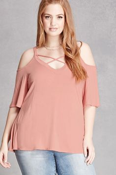 Forever 21+ - A soft top featuring an open shoulder, short sleeves, V-neckline with a strappy front, and a V-shape back. This is an independent brand and not a Forever 21 branded item.