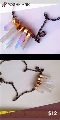 Angel aura quartz crystal necklace - rare! ❤️✨ Beautiful auric quartz necklace, dipped in gold. The one pictured is what you will receive ❤️✨ Urban Outfitters Accessories