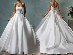Vintage Strapless White/Ivory Satin Bridal Dress Wedding Gowns Size 6 8 10 12-16