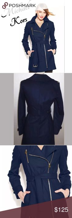 HP MICHAEL KORS NAVY ASYMMETRICAL WALKER COAT/PLUS This MICHAEL Michael Kors coat features an asymmetrical zipper and gold-toned hardware. A coordinating belt keeps the look sophisticated. Point collar. Asymmetrical front zipper closure; logo at zipper pull. Long sleeves with buckle tabs. Epaulets at shoulders. Belted at waist; belt loops. Zip pocket at chest; slit pockets. NWOT MICHAEL Michael Kors Jackets & Coats Pea Coats