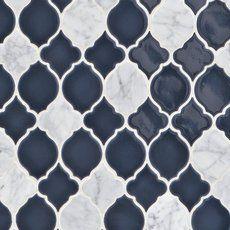 Mystic Lantern Porcelain and Marble Mosaic - 11 x 11 - 100500263 Decorative Tile Backsplash, Blue Backsplash, Stone Backsplash, Backsplash Ideas, Splashback Tiles, Marble Mosaic, Mosaic Glass, Mosaic Tiles, Cement Tiles