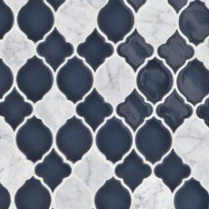 Mystic Lantern Porcelain and Marble Mosaic - 11 x 11 - 100500263 Decorative Tile Backsplash, Blue Backsplash, Stone Backsplash, Kitchen Backsplash, Kitchen Reno, Backsplash Ideas, Kitchen Design, Splashback Tiles, Red Kitchen