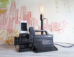 Vintage video camera upcycled into an iPhone docking station