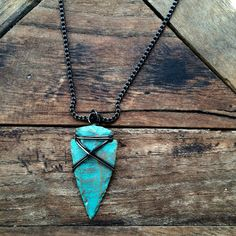 Sagittarius Arrowhead Necklace - Tribal Wire Wrapped Turquoise Necklace - Unique Jewelry Gifts for Him