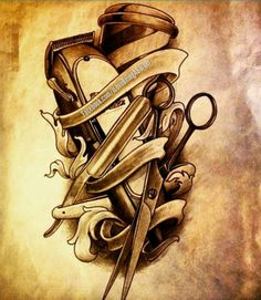 stunning barber shop drawing helpsite us - barber drawings Barber Poster, Barber Logo, Barber Tattoo, Hairstylist Tattoos, Hairdresser Tattoos, Barber Equipment, Barber Shop Decor, Barbershop Design, Tattoo Project