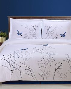 Shop Swallow Embroidered Duvet Cover Set, California King from Florence & Strada at Neiman Marcus Last Call, where you'll save as much as on designer fashions. Bed Sets, Duvet Cover Sets, Comforter Sets, Bed Sheet Painting Design, California King Duvet Cover, Camas King, Bed Duvet Covers, Pillow Shams, Cotton Duvet