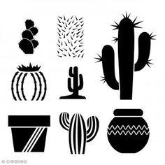 Pochoir multiusage A4 - Cactus - 8 motifs Stencils, Stencil Templates, Stencil Patterns, Stencil Art, Stencil Designs, Quilt Patterns, Image Cactus, Cactus Cactus, Southwestern Christmas Ornaments
