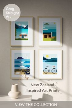 Add a little brightness to your walls with Greg Straight's range of iconic NZ themed art prints inspired by the oceans, lakes andlandscapes of New Zealand. New Zealand Art, Nz Art, Art Prints Online, Framed Art, Wall Art, Art Techniques, Creative Inspiration, Art For Sale, Home Art