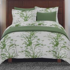 Seasons Collection 6 Piece Duvet Cover Set In White And Green Beyond The Rack