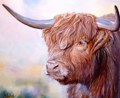 ORIGINAL COW PAINTING ON CANVAS SCOTTISH HIGHLAND COW CATTLE PICTURE BY M JAMES