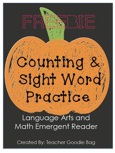 FREEBIE- Emergent Reader, counting and reading sight words. Pumpkin Book