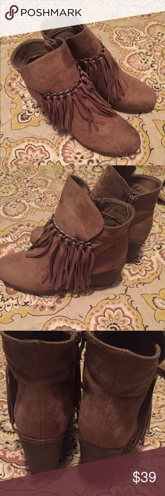 4a777a6b9faa NWOT Fringe wedge booties Fringe wedge booties- never worn Tan in color -  brand is Pierre Dumas Pierre Dumas Shoes Ankle Boots   Booties