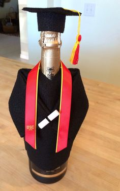 Personalize your colors, (be detailed) Graduation Cap and Gown Champagne bottle cover, Wine Bottle Cover-Party decoration-Graduation Gift - Decoration For Home Graduation Desserts, Graduation Cap And Gown, College Graduation Parties, College Graduation Gifts, Graduation Celebration, Graduation Decorations, Grad Gifts, Graduation Presents, Graduation Bear