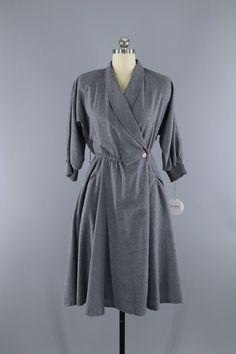 Vintage 1980s Grey Wool Wrap Dress  #vintage #shopvintage