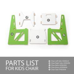 Parts List for Modern Wooden Green Kids Chair
