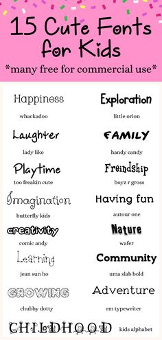 15 Cute fonts for kids, free to download today! Use for your blog, art & crafts, home school projects, and more! Most listed are free for commercial use. #cutefonts #fonts #freefonts #homeschool