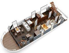 Yacht Design, Boat Design, Boat Building Plans, Boat Plans, Mercury Motors, Small Houseboats, Pontoon Houseboat, Barge Boat, Floating Architecture