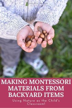 Montessori doesn't have to happen inside a neutral colored, wooden shelved classroom. It can happen ANYWHERE--even (and especially!) outside! We're sharing some favorite ways to use things from the backyard (or the local park!) as Montessori materials.