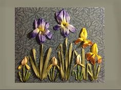 ▶ how to make a silk ribbon embroidered iris flower group - YouTube