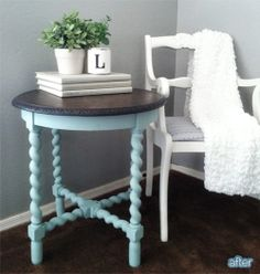 Lindsey of Better After shares a wonderful Before & After post with a beautiful table finished in Duck Egg Blue Chalk Paint® decorative paint by Annie Sloan!