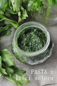 Pasta z selera. Parsley, Preserves, Pesto, Herbs, Dishes, Canning, Healthy, Recipes, Diet