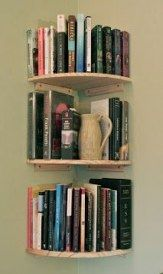wall bookshelves - this would be great for the empty corner(s) in the bedroom. Spruce them up with paint and trim!corner wall bookshelves - this would be great for the empty corner(s) in the bedroom. Spruce them up with paint and trim! Corner Bookshelves, Book Shelves, Bookshelves For Small Spaces, Bookcases, Book Storage Small Space, Corner Shelving, Wall Shelves, Kitchen Shelves, Book Shelf Diy