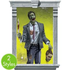 Sized for large windows, Killer Zombie Window Decorations look like zombies armed with bloody weapons! Trim Killer Zombie Window Decorations to fit any wall or window.