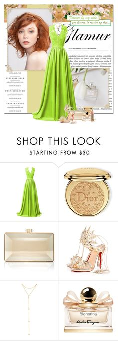 """""""receive my love"""" by lifestyle-ala-grace ❤ liked on Polyvore featuring R&J, Christian Dior, Judith Leiber, Christian Louboutin, Fragments, Salvatore Ferragamo, Spring, christianlouboutin, goldshoes and goldjewelry"""