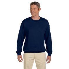 Men's Super Sweats J Navy 50/50 Nublend Fleece Big and Tall Crewneck Sweater