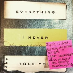 EVERYTHING I NEVER TOLD YOU, by Celeste Ng #StickyNoteReview
