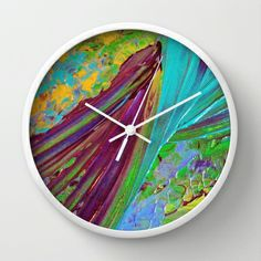 COLOR CHAOS Wild Vibrant Colorful Abstract Whimsical Acrylic Painting Lime Green Plum Purple Gift Art Decor Modern Stylish Decorative Home Decoration Wall Clock by EbiEmporium - $30.00