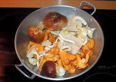 Fresh porcinis (cepes) and white and golden chanterelles from a market in strasbourg, France