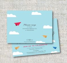 Time flies! A cute paper airplane theme birthday party invitation--  This listing is for a 5x7 DIGITAL file (no physical item will be sent). I